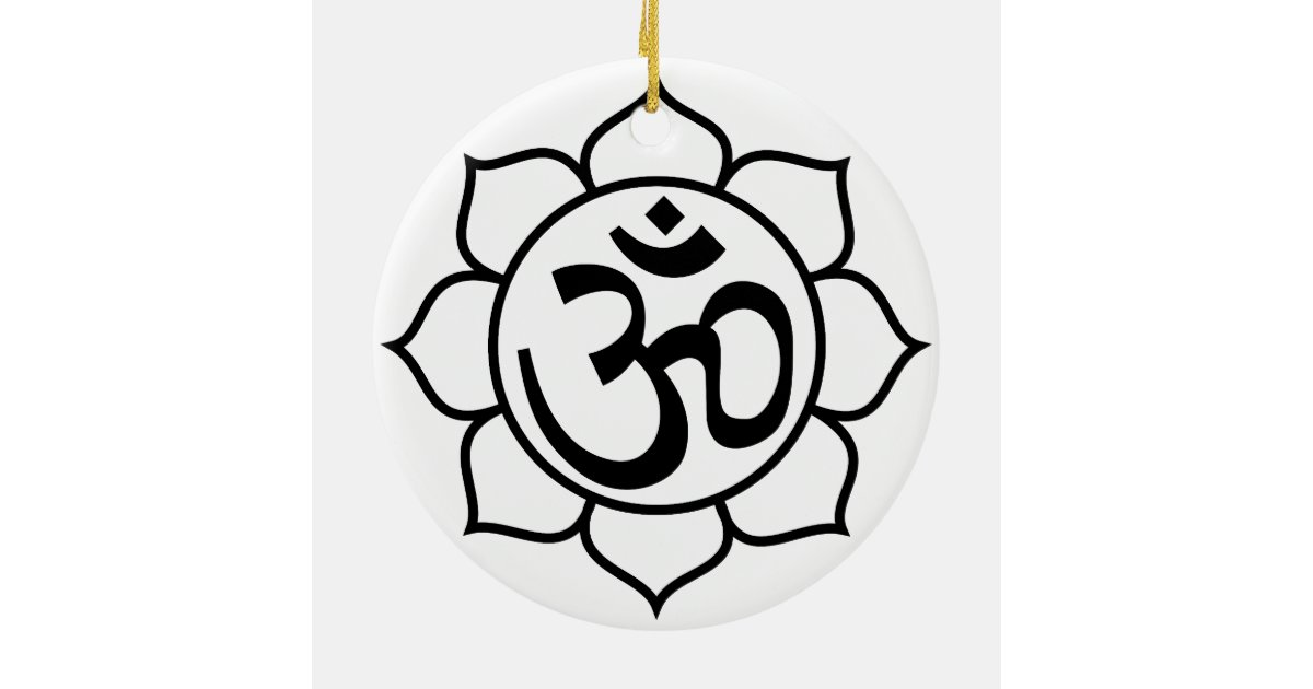 symbole de l 39 om de fleur de lotus ornement rond en. Black Bedroom Furniture Sets. Home Design Ideas
