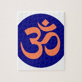 Symbole de l'OM ou de l'Aum dans le bleu marine et Puzzle