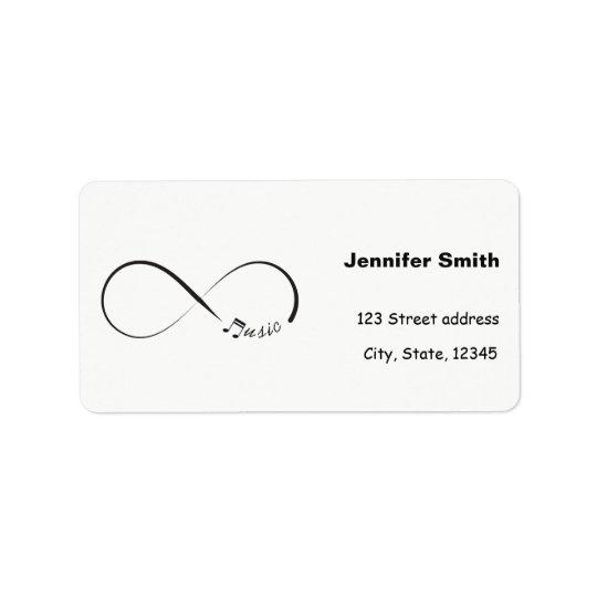 Symbole de musique d'infini étiquettes d'adresse
