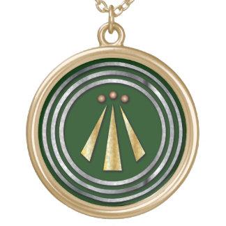 Symbole de Néo--Druide d'argent et d'or d'Awen Collier Plaqué Or