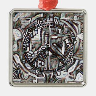 Symbole de paix abstrait ornement carré argenté