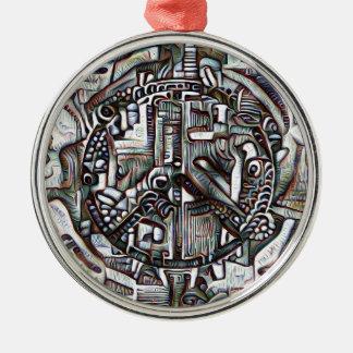 Symbole de paix abstrait ornement rond argenté