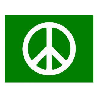 Symbole de paix blanc et vert carte postale