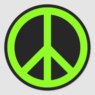 Symbole de paix Chartreuse Sticker Rond