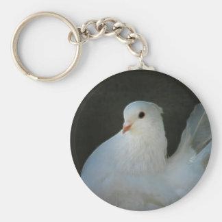Symbole de paix de colombe de blanc porte-clé