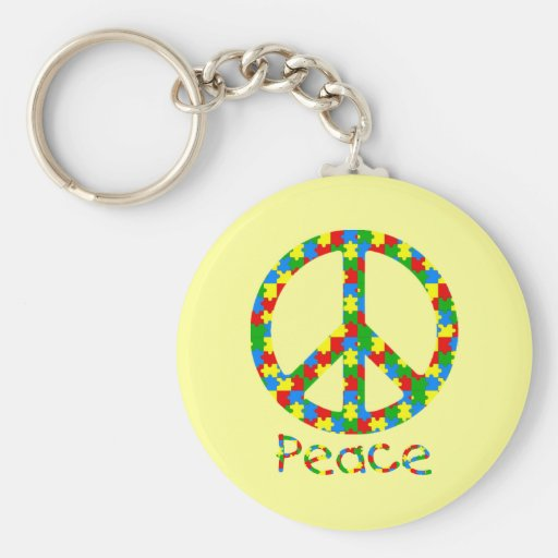 Symbole de paix de puzzle d'autisme porte-clefs
