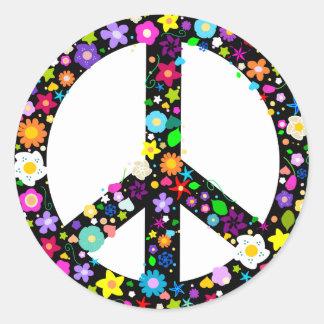 Symbole de paix floral adhésifs ronds