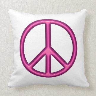 Symbole de paix rose coussin