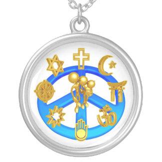 Symbole de paix unissant toutes les religions du pendentif rond