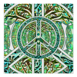 Symbole de paix, Yin Yang, arbre de la vie en vert Poster