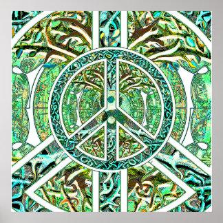 Symbole de paix, Yin Yang, arbre de la vie en vert Posters