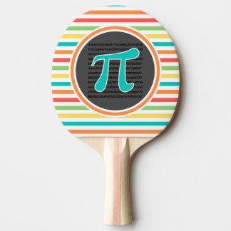 Symbole de pi, rayures lumineuses d'arc-en-ciel raquette tennis de table
