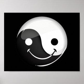 Symbole de sourire rond brillant de Yin Yang Posters
