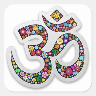 Symbole de yoga d'Aum Namaste d'ohm de l'OM Sticker Carré