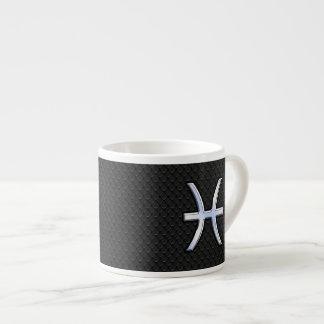Symbole de zodiaque de Poissons sur le style noir Tasse Expresso