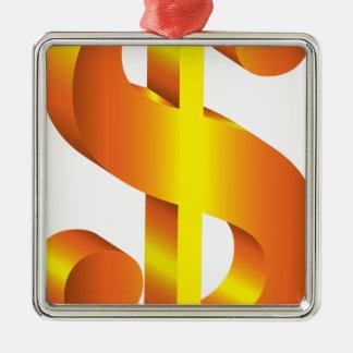 Symbole dollar d'or ornement carré argenté