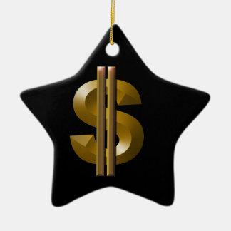 Symbole dollar d'or ornement étoile en céramique