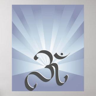 Symbole d'OM et rayons - affiche