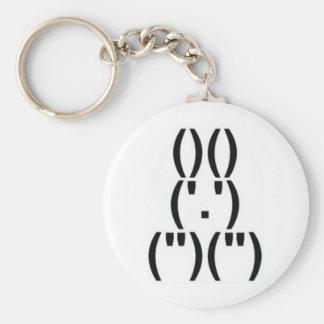Symbole d'ordinateur de lapin porte-clé rond