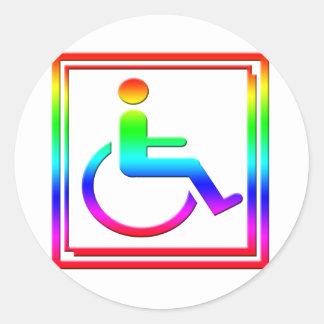 Symbole élégant handicapé multicolore sticker rond