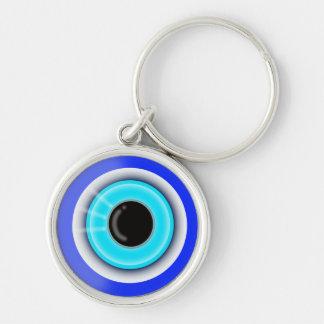 Symbole ésotérique de bonne chance d'oeil mauvais porte-clé rond argenté