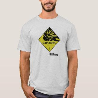 Symbole explosif. Légende : Précaution : T-shirt