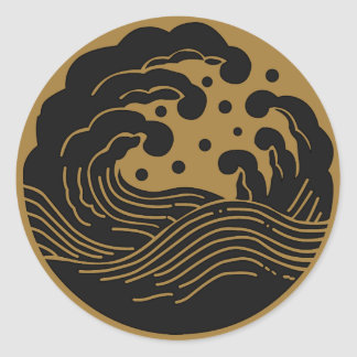 Symbole japonais de la crête KAMON de famille Autocollant Rond