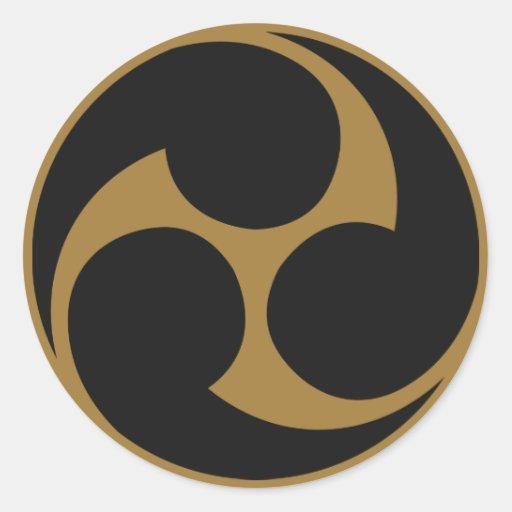 Symbole japonais de la crête KAMON de famille Autocollants Ronds