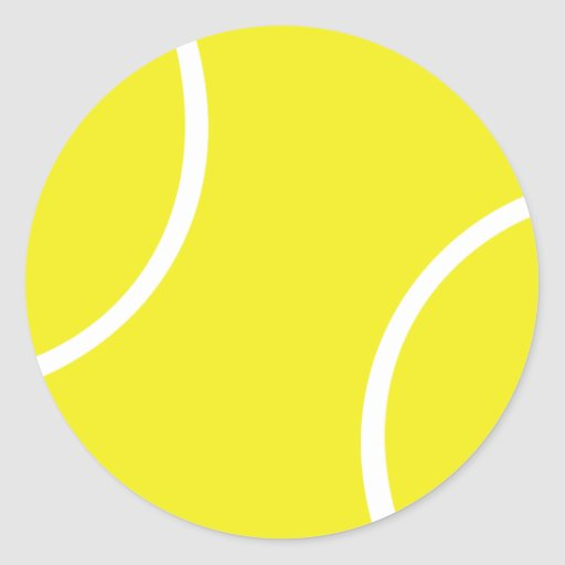 symbole jaune de balle de tennis sticker rond zazzle. Black Bedroom Furniture Sets. Home Design Ideas