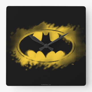 Symbole logo noir et jaune de   de Batman Horloge Carrée