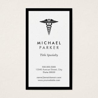 Symbole médical de caducée - rétro noir et blanc cartes de visite