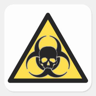 Symbole noir et jaune et crâne de Biohazard Sticker Carré
