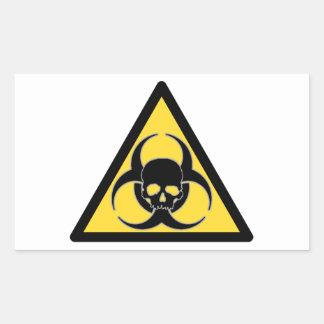 Symbole noir et jaune et crâne de Biohazard Sticker Rectangulaire