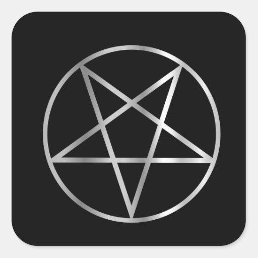 Symbole religieux de pentacle de satanisme autocollant carré