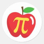 Symbole rouge de la tarte aux pommes pi autocollants ronds