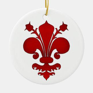 Symbole rouge foncé de fleur de lis ornement rond en céramique