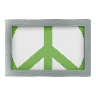 Symbole vert de signe de paix boucle de ceinture rectangulaire