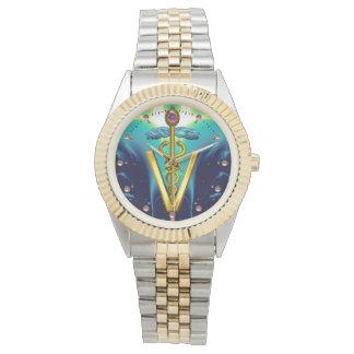 SYMBOLE VÉTÉRINAIRE de CADUCÉE D'OR/bleu d'Aqua, Montres Bracelet