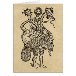 Symboles alchimiques de dragon carte de vœux