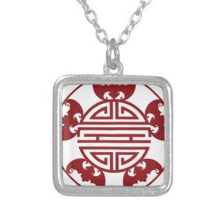 Symboles chinois de bénédictions de la longévité pendentif carré
