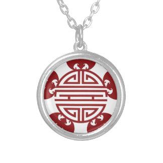 Symboles chinois de bénédictions de la longévité pendentif rond
