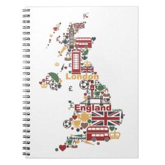 Symboles de carte de l'Angleterre Carnets