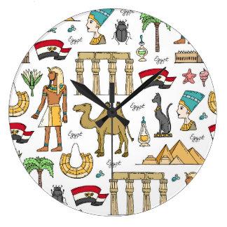 Symboles de couleur de motif de l'Egypte Grande Horloge Ronde
