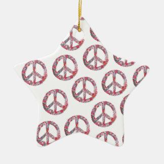 Symboles de paix loin trop assez floraux ornement étoile en céramique