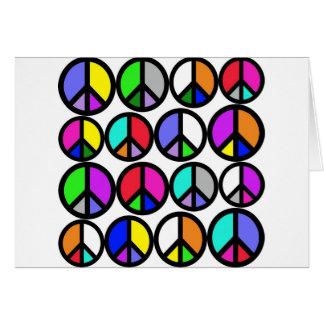 Symboles de paix multicolores carte de vœux