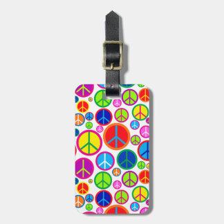 Symboles de paix super colorés frais personnalisés étiquette pour bagages