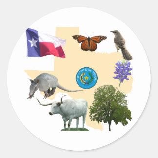 Symboles d'état du Texas Sticker Rond