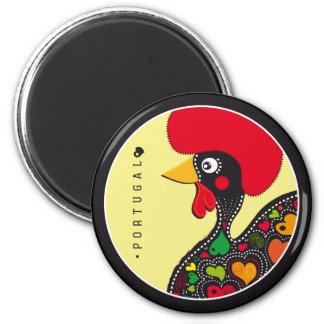Symboles du Portugal - coq Magnet Rond 8 Cm
