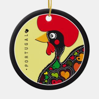 Symboles du Portugal - coq Ornement Rond En Céramique