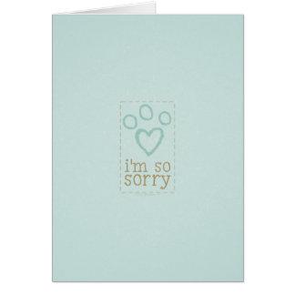 Sympathie de perte d'animal familier de bleu cartes